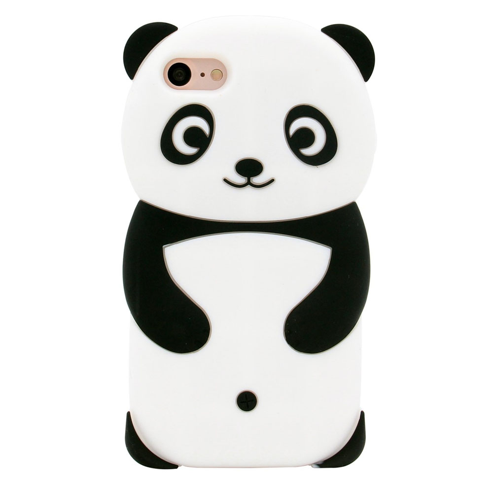 [REDshield] Apple iPhone  8 / 7 / 6S / 6 3D Silicone Case, [Panda Bear] Flexible Anti-shock Silicone Protective Skin Case Cover