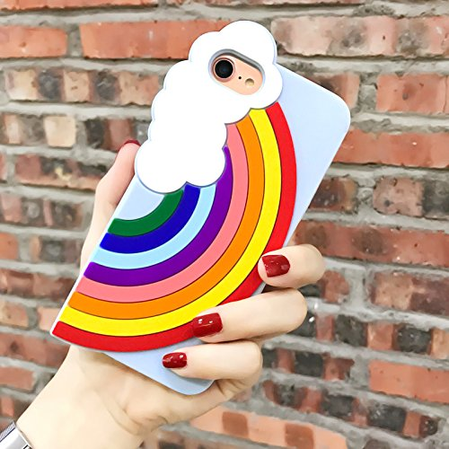 Made for Apple iPhone 8 / 7 / 6S / 6 3D Silicone Case, [Rainbow on Baby Blue] Slim Flexible Anti-shock Silicone Protective Skin Case Cover by Redshield
