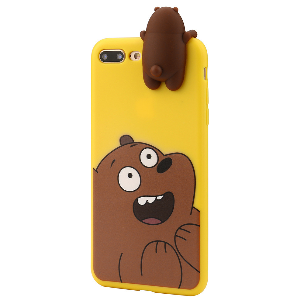 [REDshield] Apple iPhone 8 / 7 Plus 3D Silicone Case, [Cute Brown Bear on Yellow] Slim & Flexible Anti-shock Silicone Protective Skin Case Cover