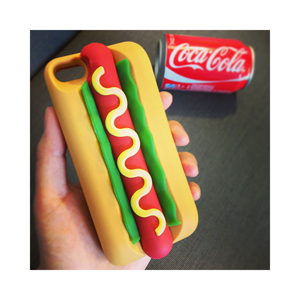 Made for Apple iPhone 8 Plus / 7 Plus / 6S Plus / 6 Plus 3D Silicone Case, [Yummy Hot Dog in Bun] Flexible Anti-shock Silicone Protective Skin Case Cover by Redshield