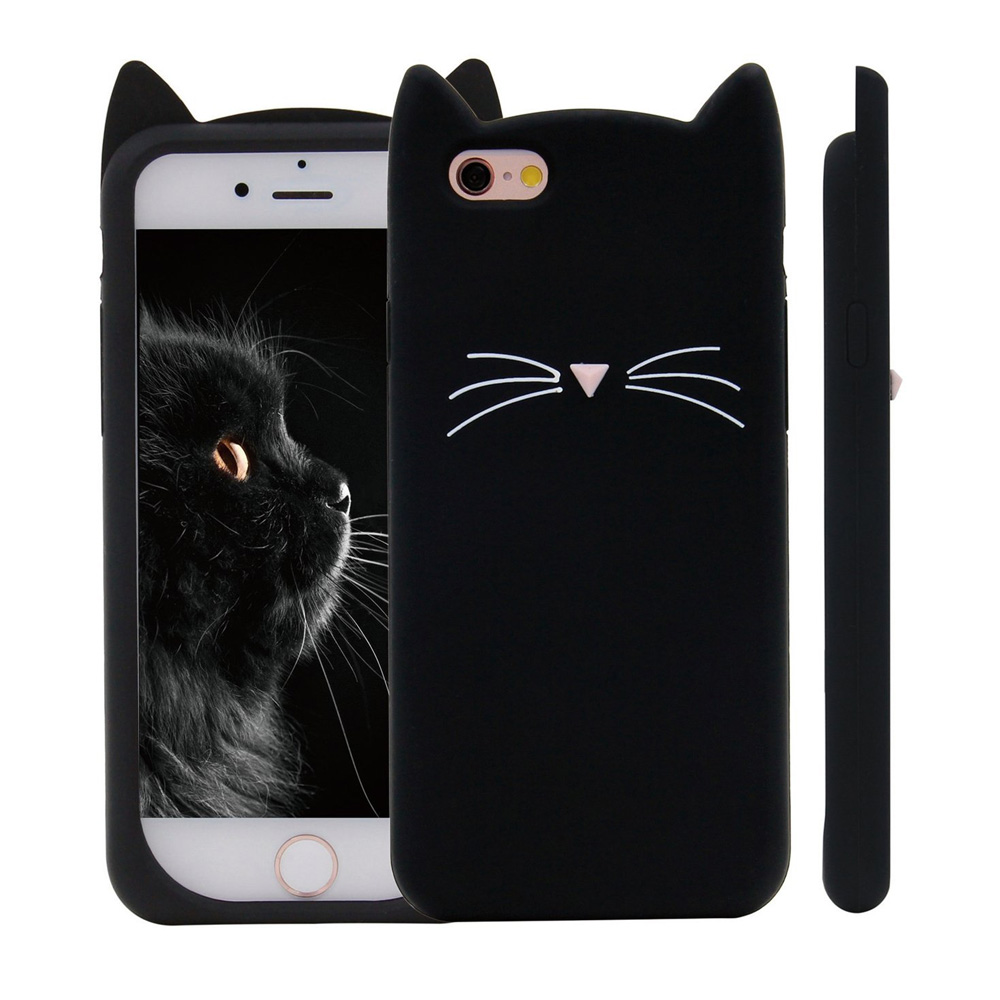 [REDshield] Apple iPhone 8 Plus / 7 Plus 3D Silicone Case, [Black Kitty Cat] Slim & Flexible Anti-shock Silicone Protective Skin Case Cover