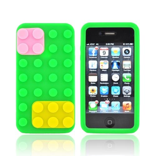 AT&T/ Verizon Apple iPhone 4, iPhone 4S Silicone Case - Neon Green/ Yellow/ Pink Blocks