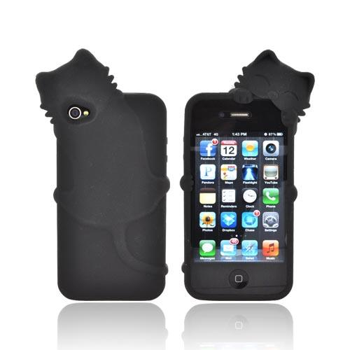 AT&T/ Verizon Apple iPhone 4, iPhone 4S Silicone Case w/ 3D Cat - Black