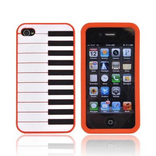 AT&T/ Verizon Apple iPhone 4, iPhone 4S Silicone Case - Orange Piano