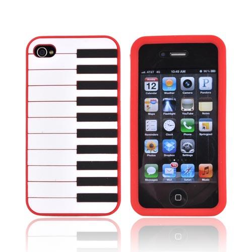 AT&T/ Verizon Apple iPhone 4, iPhone 4S Silicone Case - Red Piano