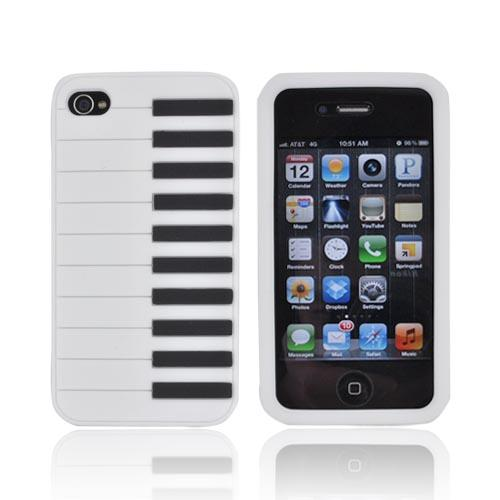 AT&T/ Verizon Apple iPhone 4, iPhone 4S Silicone Case - White Piano