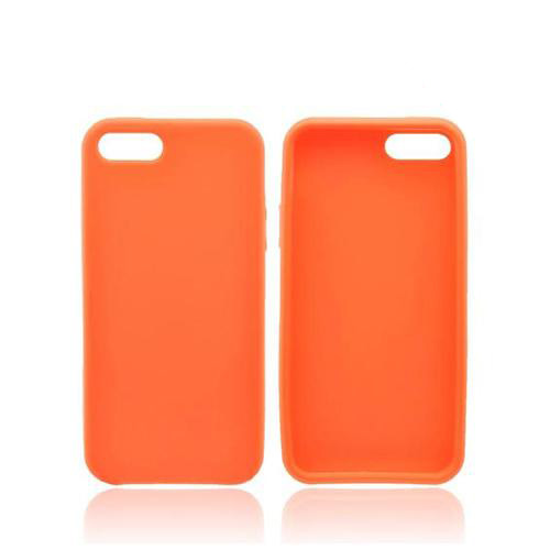 Apple iPhone SE / 5 / 5S  Case,  [Orange]  Slim & Flexible Anti-shock Crystal Silicone Protective TPU Gel Skin Case Cover