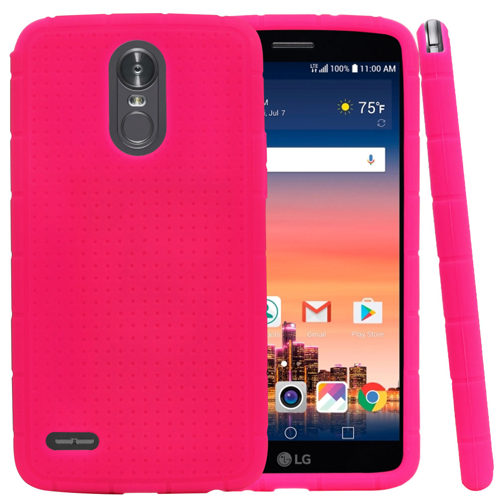 LG Stylo 3/ 3 Plus Silicone Case, Soft & Flexible Reinforced Silicone Skin Cover [Hot Pink]  with Travel Wallet Phone Stand