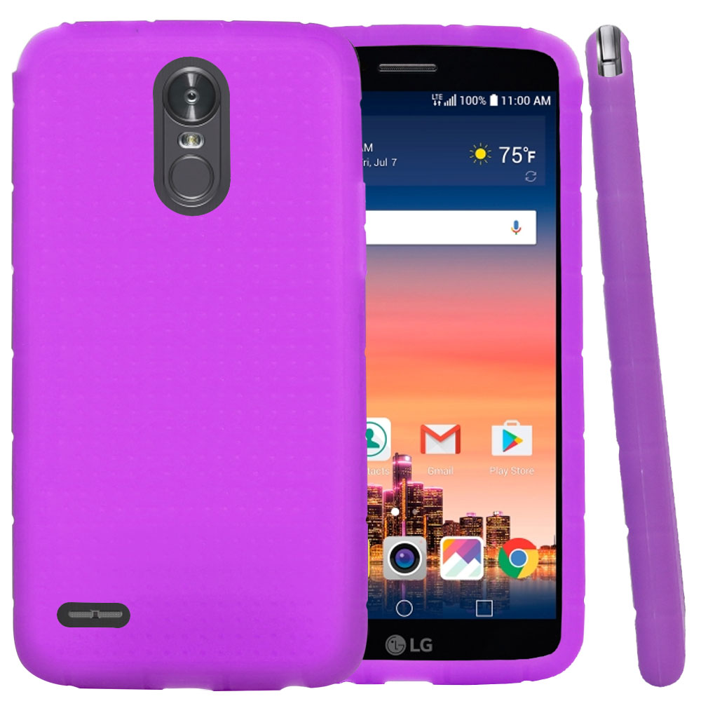 LG Stylo 3/ 3 Plus Silicone Case, Soft & Flexible Reinforced Silicone Skin Cover [Purple]