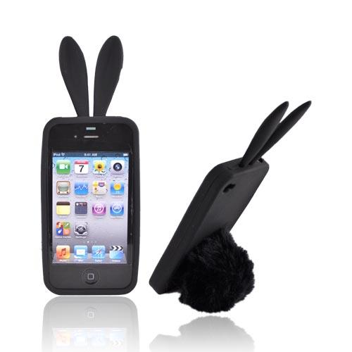 Black Bunny Silicone Case w/ Fur Tail Stand for Apple iPhone 4/4S