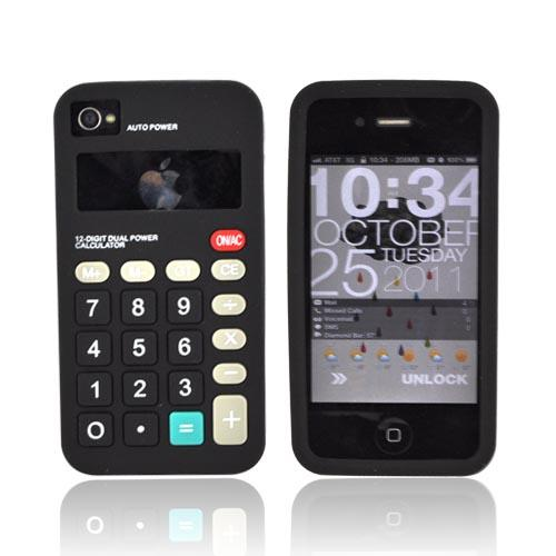 AT&T/ Verizon iPhone 4, iPhone 4S Silicone Case - Black Calculator