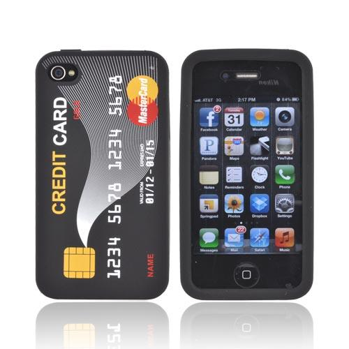 AT&T/ Verizon Apple iPhone 4, iPhone 4S Silicone Case - Black Credit Card