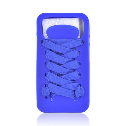 AT&T/ Verizon Apple iPhone 4, iPhone 4S Silicone Case w/ Shoelace - Blue
