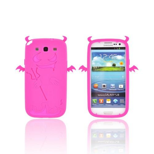 Samsung Galaxy S3 Silicone Case - Hot Pink Devil w/ Horns
