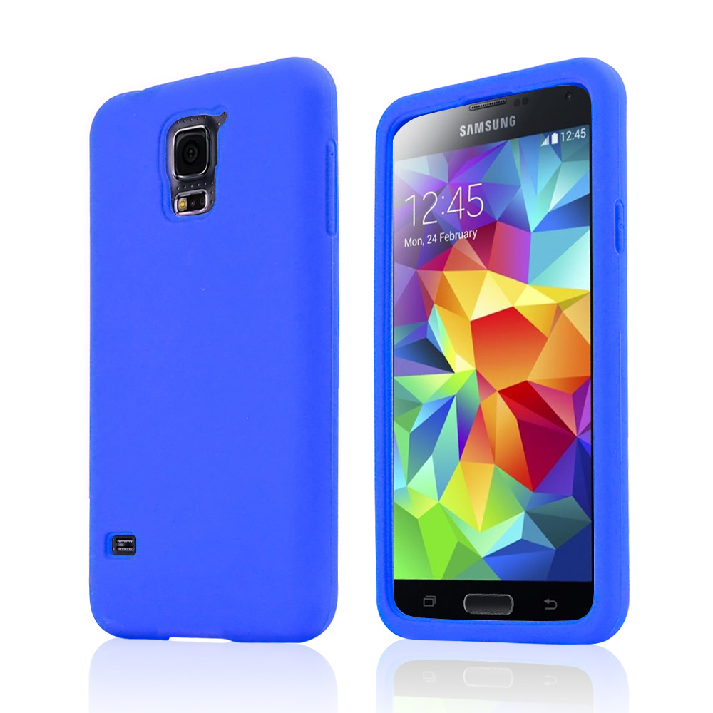 Blue Silicone Skin Case for Samsung Galaxy S5