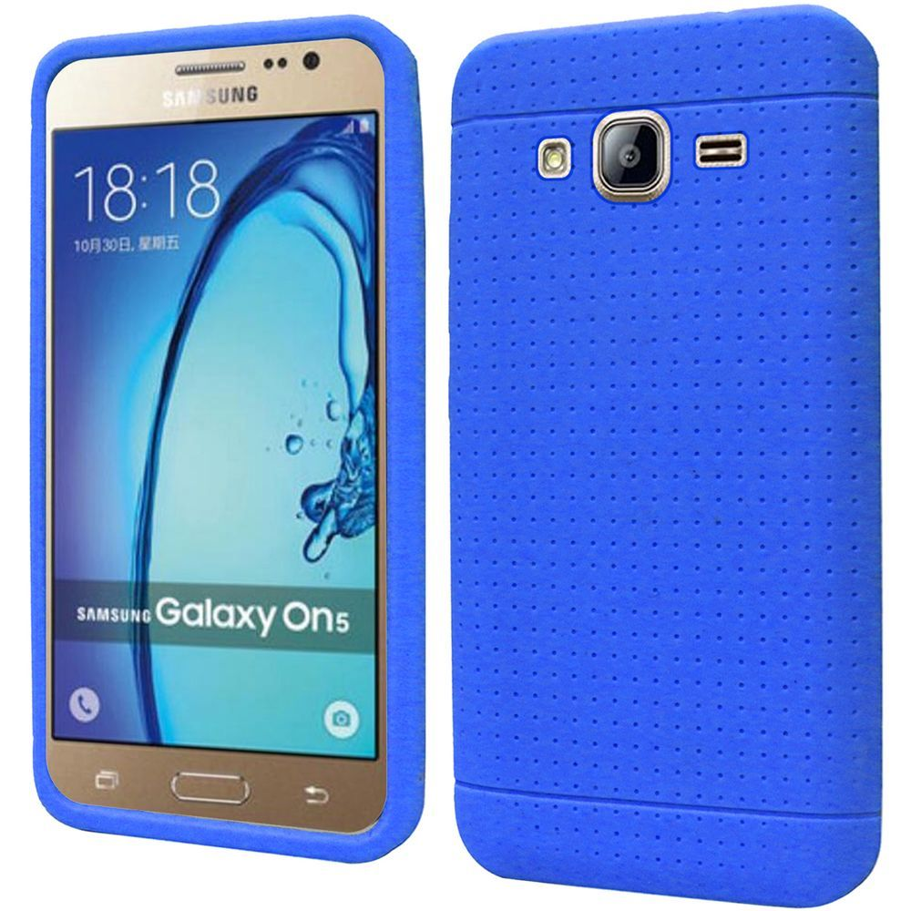 Samsung Galaxy On5 Case, Soft & Flexible Reinforced Silicone Skin Case Cover [Blue]