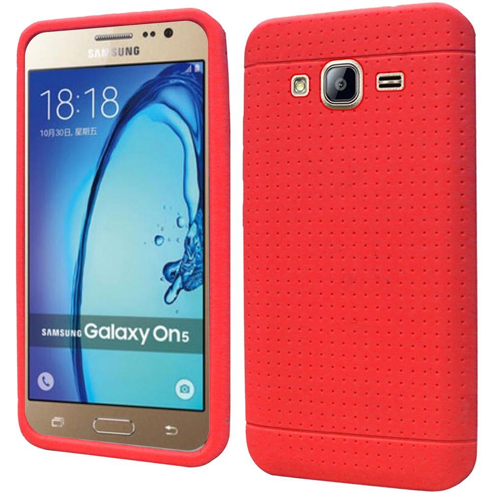 Samsung Galaxy On5 Case, Soft & Flexible Reinforced Silicone Skin Case Cover [Red]