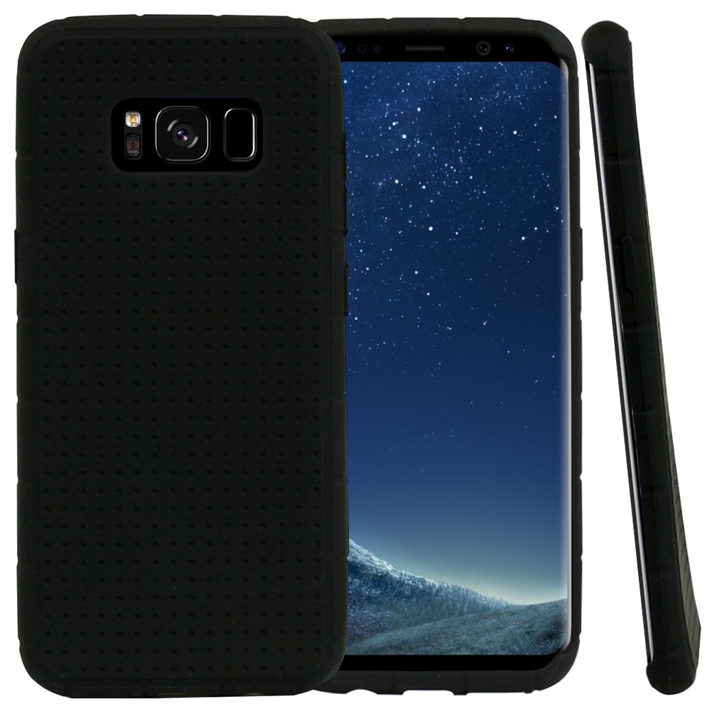 Samsung Galaxy S8 Silicone Case, Soft & Flexible Reinforced Silicone Skin Cover [Black] with Travel Wallet Phone Stand