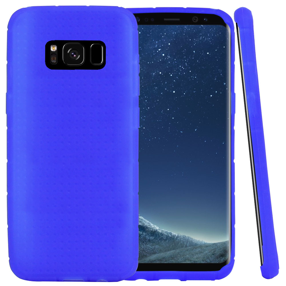 Samsung Galaxy S8 Silicone Case, Soft & Flexible Reinforced Silicone Skin Cover [Blue] with Travel Wallet Phone Stand
