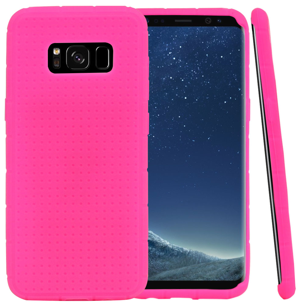 Samsung Galaxy S8 Silicone Case, Soft & Flexible Reinforced Silicone Skin Cover [Hot Pink] with Travel Wallet Phone Stand