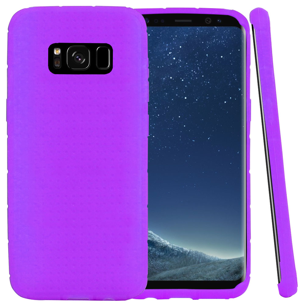 Samsung Galaxy S8 Silicone Case, Soft & Flexible Reinforced Silicone Skin Cover [Purple] with Travel Wallet Phone Stand