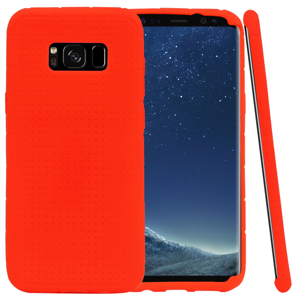 Samsung Galaxy S8 Silicone Case, Soft & Flexible Reinforced Silicone Skin Cover [Red] with Travel Wallet Phone Stand