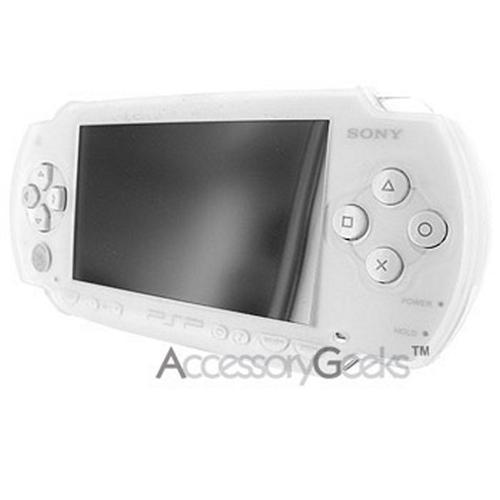 Sony PSP Slim silicone case, rubber skin - Frost Clear White