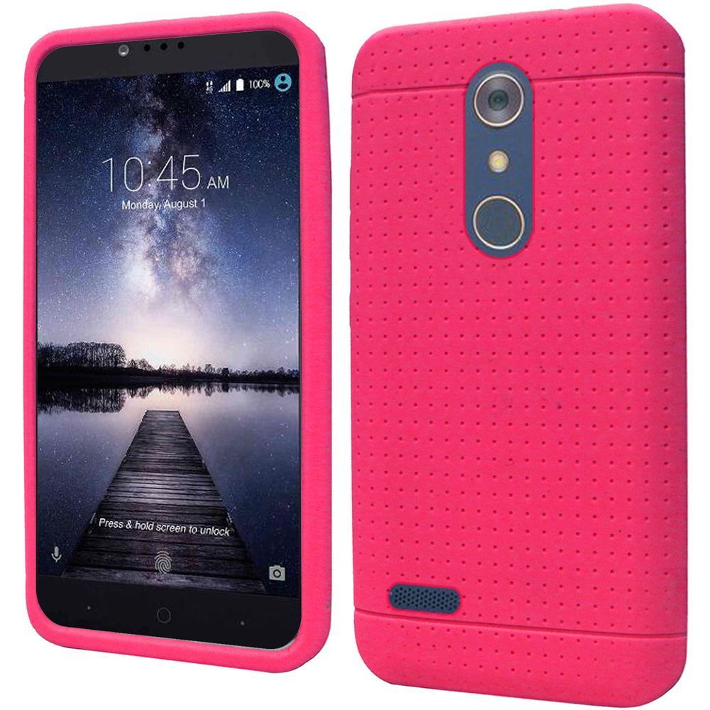 ZTE Z Max Pro Case, Soft & Flexible Reinforced Silicone Skin Case Cover [Hot Pink] with Travel Wallet Phone Stand