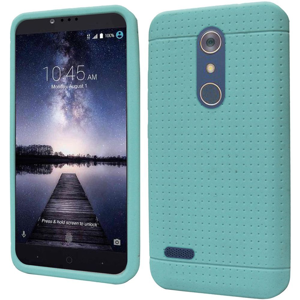 ZTE Z Max Pro Case, Soft & Flexible Reinforced Silicone Skin Case Cover [Mint] with Travel Wallet Phone Stand