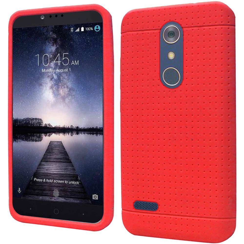 ZTE Z Max Pro Case, Soft & Flexible Reinforced Silicone Skin Case Cover [Red] with Travel Wallet Phone Stand