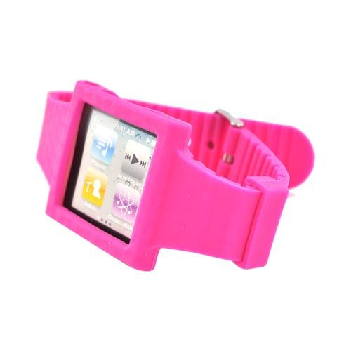 Premium Apple iPod Nano 6 Silicone Wrist Band Case - Hot Pink Design