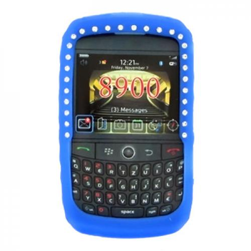 Blackberry Curve 8900 Silicone Case, Rubber Skin w/ Embedded Gems - Blue