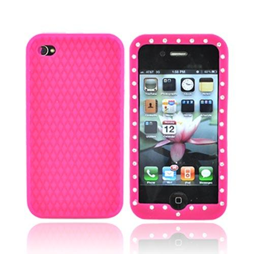 Apple Verizon/ AT&T iPhone 4, iPhone 4S Silicone Case w/ Embedded Gems - Hot Pink