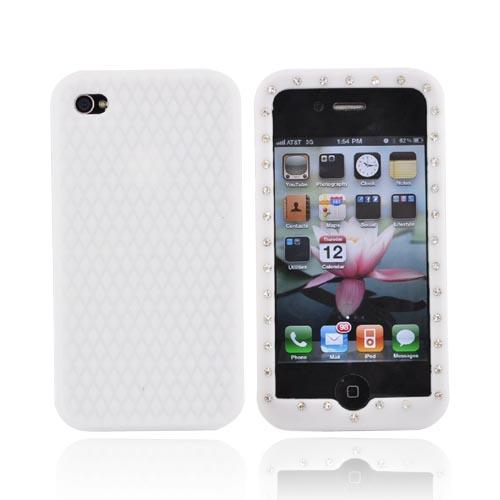 Apple Verizon/ AT&T iPhone 4, iPhone 4S Silicone Case w/ Embedded Gems - White
