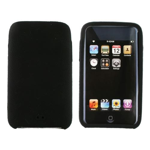 Premium Apple iPod Touch 2 & 3 Leathery Texture Silicone Case, Rubber Skin - Black