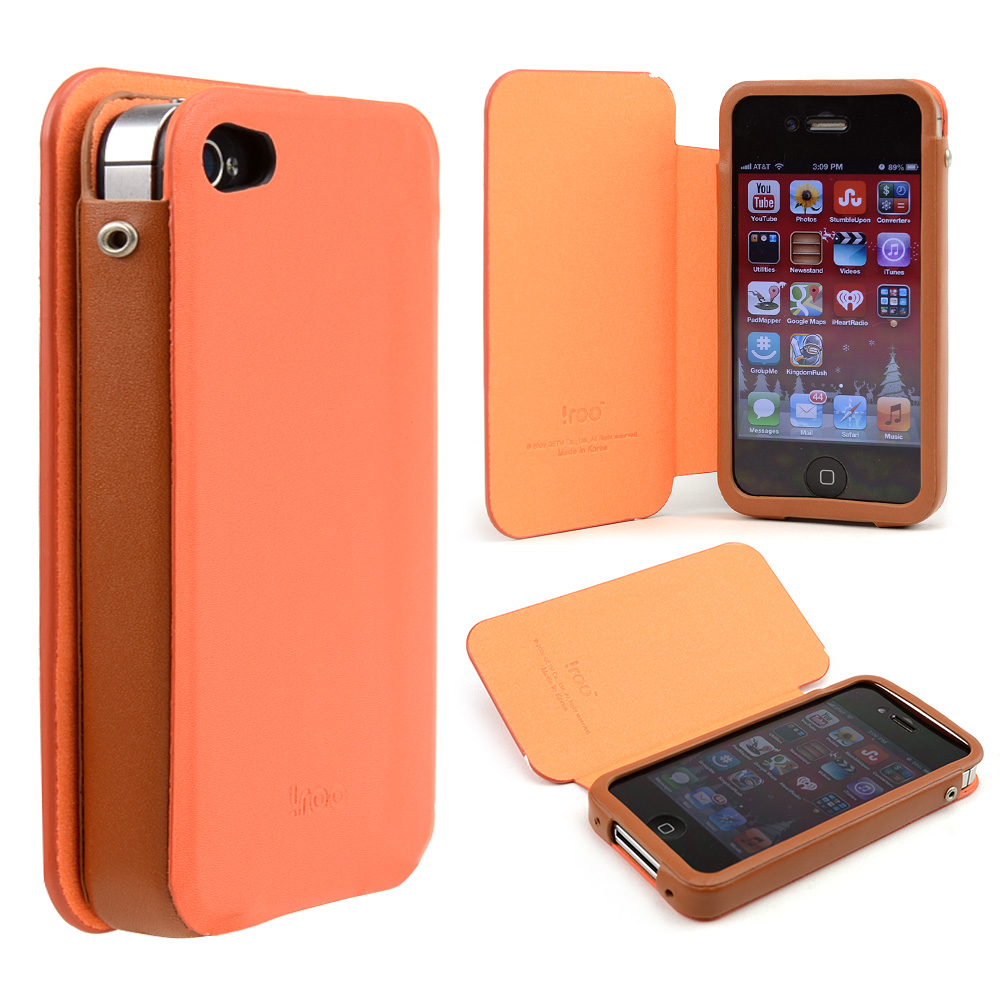 Orange/ Brown iRoo Faux Leather Slide-In Case w/ Diary Cover for Apple iPhone 4/4S