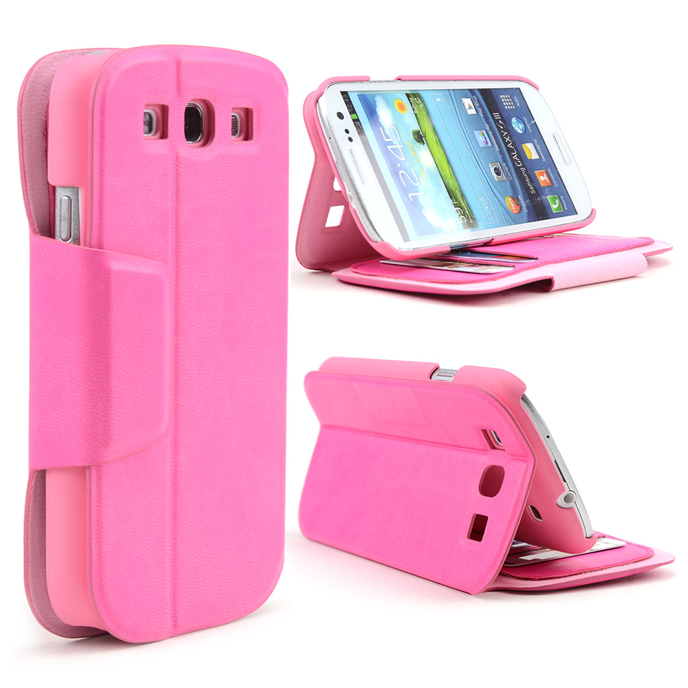 Pink iRoo Faux Leather Diary Flip Cover Hard Case w/ ID Slots & Magnetic Closure For Samsung Galaxy S3