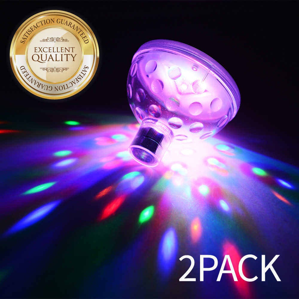 Eutuxia LED Pool Lights. Floating Underwater Mood Lamp for Illuminating Swimming Pools & Ponds. Water Light Show with 5 Different Multi-Color Modes. Water Resistant & Easy One Touch Operation. [2 PK]