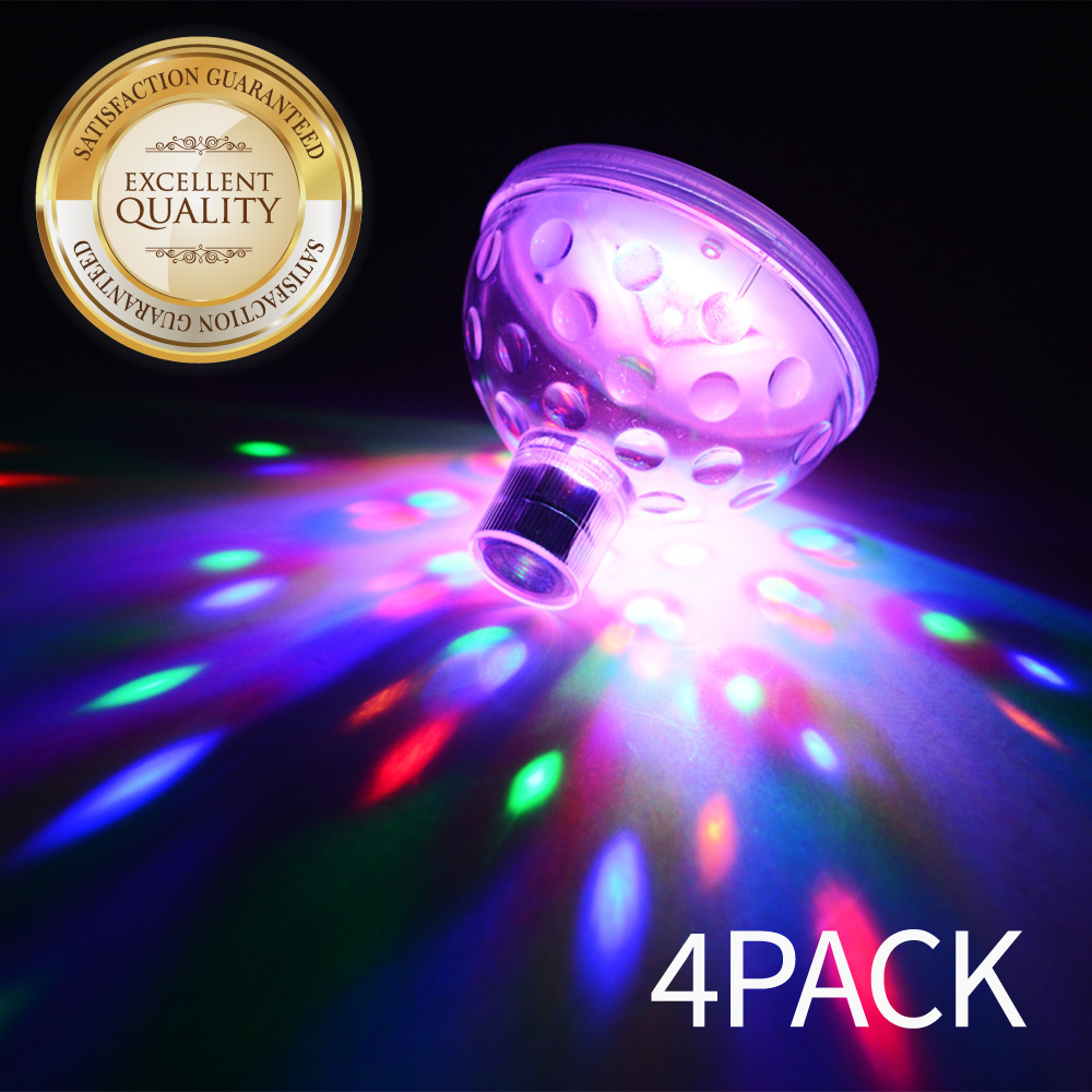 Eutuxia LED Pool Lights. Floating Underwater Mood Lamp for Illuminating Swimming Pools & Ponds. Water Light Show with 5 Different Multi-Color Modes. Water Resistant & Easy One Touch Operation. [4 PK]