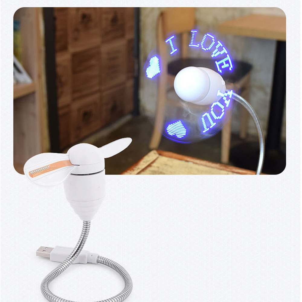Blue LED Programmable Message Fan W/ Custom Drawing - USB Powered
