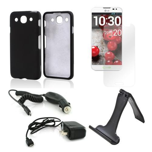 Essential Bundle Package w/ Black Rubberized Hard Case, Screen Protector, Portable Stand, Car & Travel Charger for LG Optimus G Pro