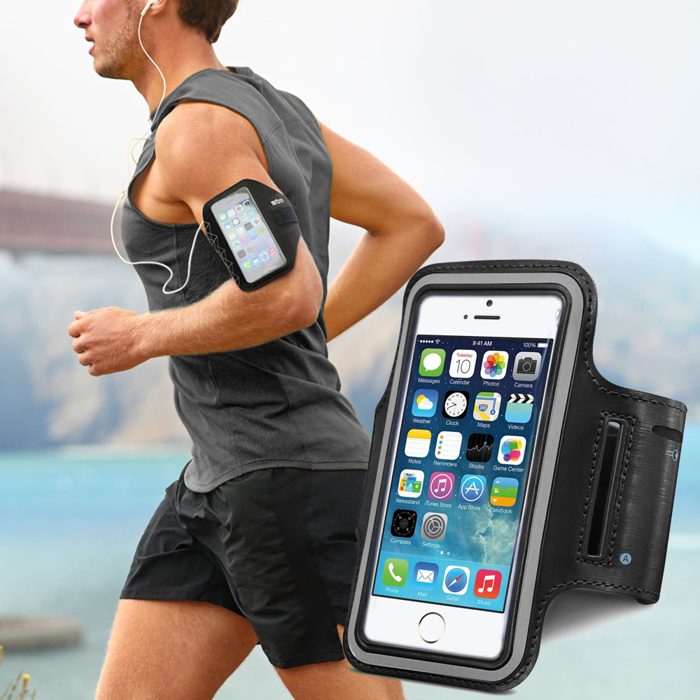 Made for Apple iPhone 6 PLUS/6S PLUS (5.5 inch) Black Sweat-Proof Neoprene Armband Case w/ Velcro Closure by Redshield