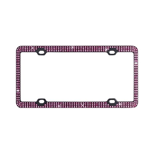 License Plate Frame - Pink Gems on Black