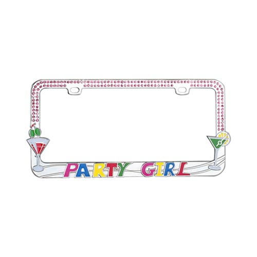License Plate Frame - Party Girl w/ Martini Glasses & Pink Gems