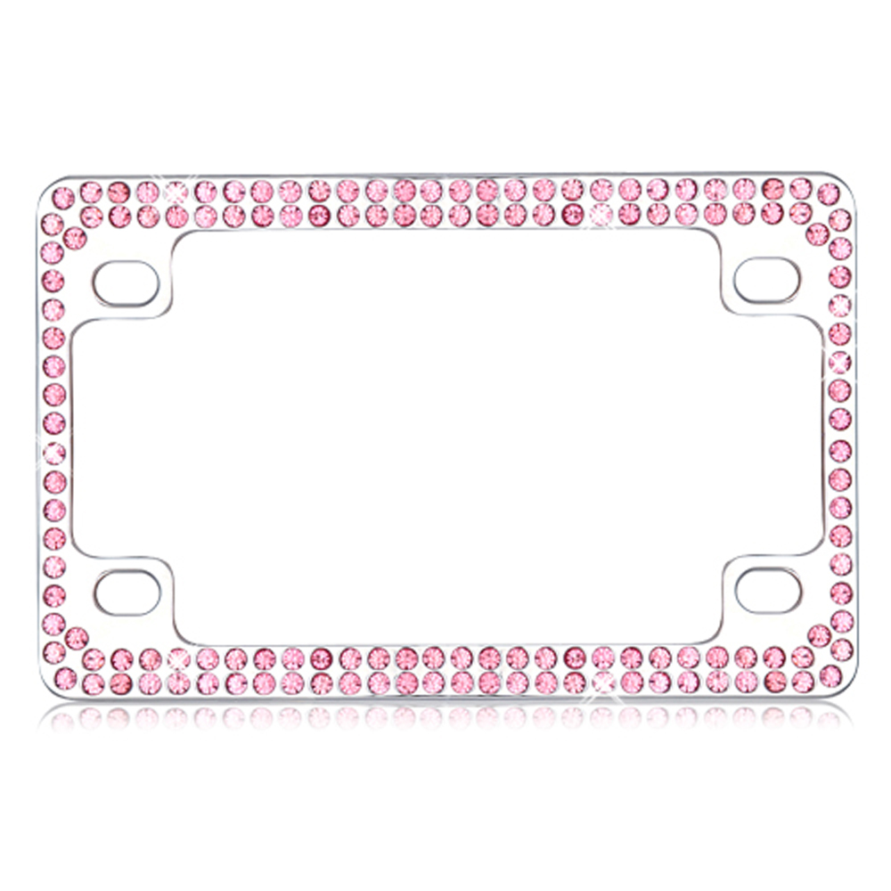 Double Row Chrome Metal Frame with Pink Crystals for Motorcycles