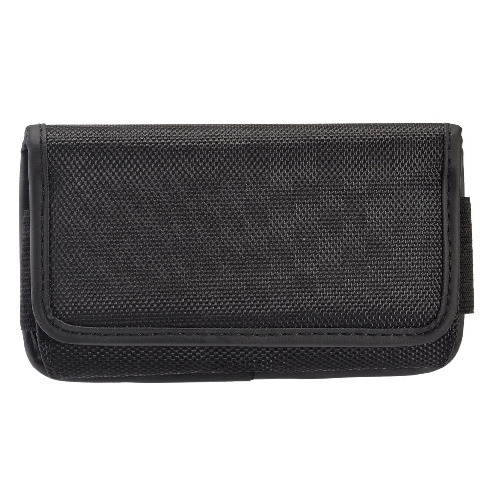 Apple iPhone 6 / 6S / 7 Pouch, Horizontal Nylon Canvas Pouch Holster w/ Velcro Closure & Belt Clip [Black]