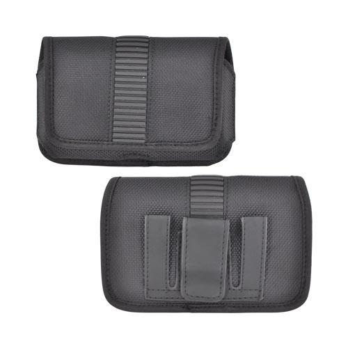 Horizontal Nylon Holster Pouch w/ Belt Clip, Rubber Trim, & Magnetic Closure - Black (PUTL)