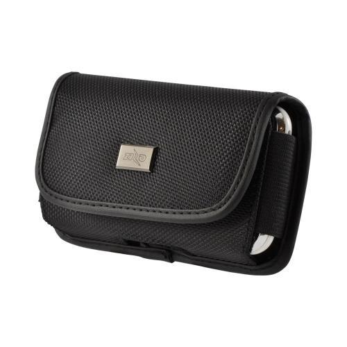 Black Nylon Horizontal Holster Pouch w/ Velcro Closure & Steel Belt Clip for Apple iPhone 3G Sized Phones (PUT)