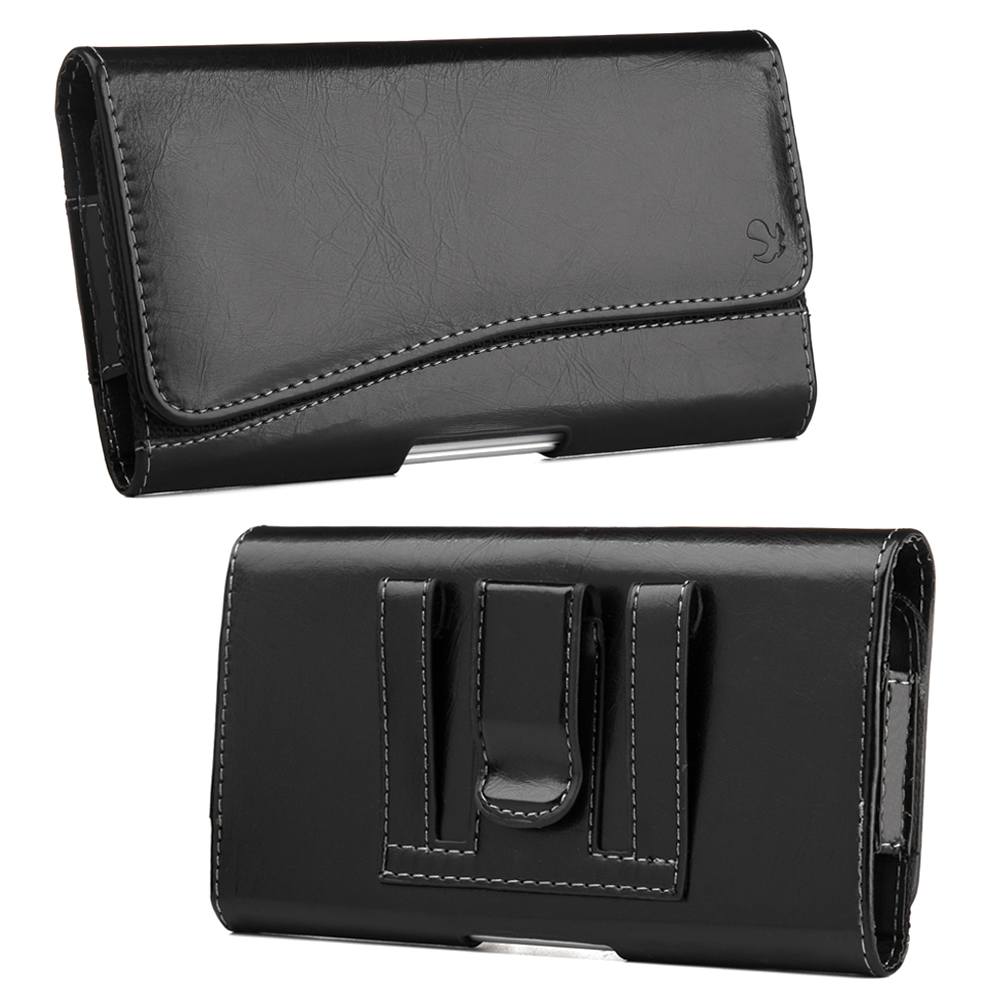 Horizontal Faux Leather Holster Pouch w/ Magnetic Closure, Belt Clip and Belt Loops for Large Smartphones likes Samsung Galaxy Note Size Devices [Black] (PUT3XL)