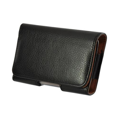 Black Horizontal Leather Pouch w/ Magnetic Closure & Belt Clip for Samsung Galaxy Note 1, 2, or 3